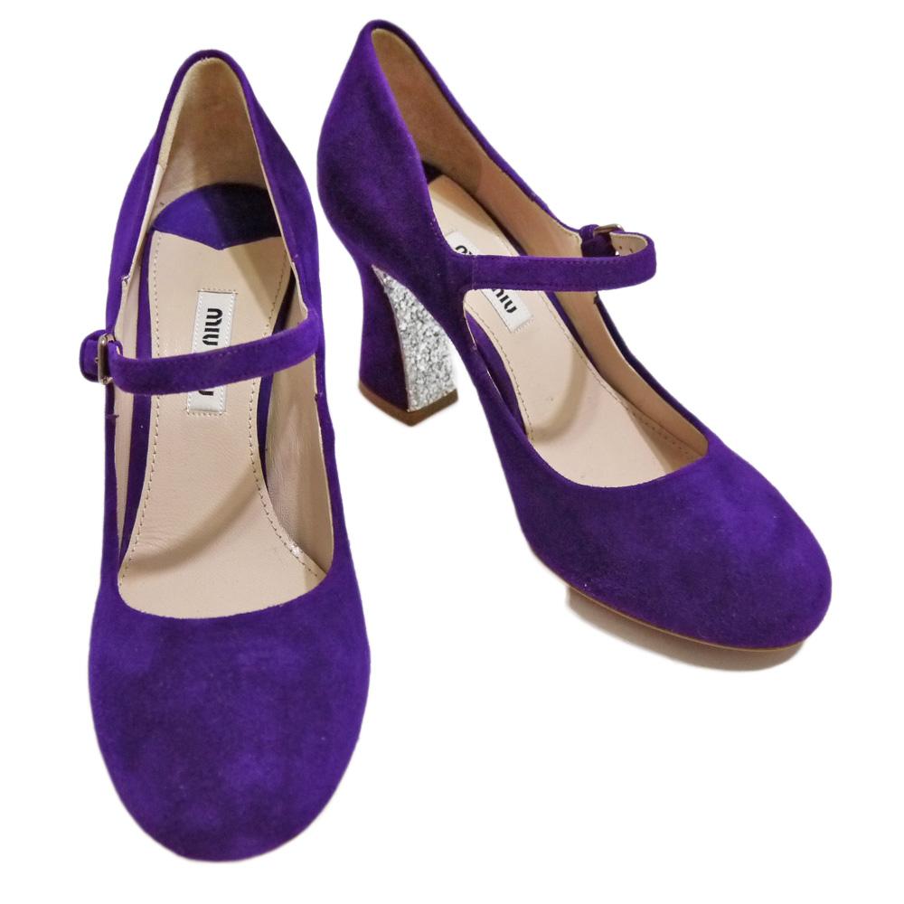ミュウミュウ スエード ストラップシューズ(靴) 紫 #35 miu miu