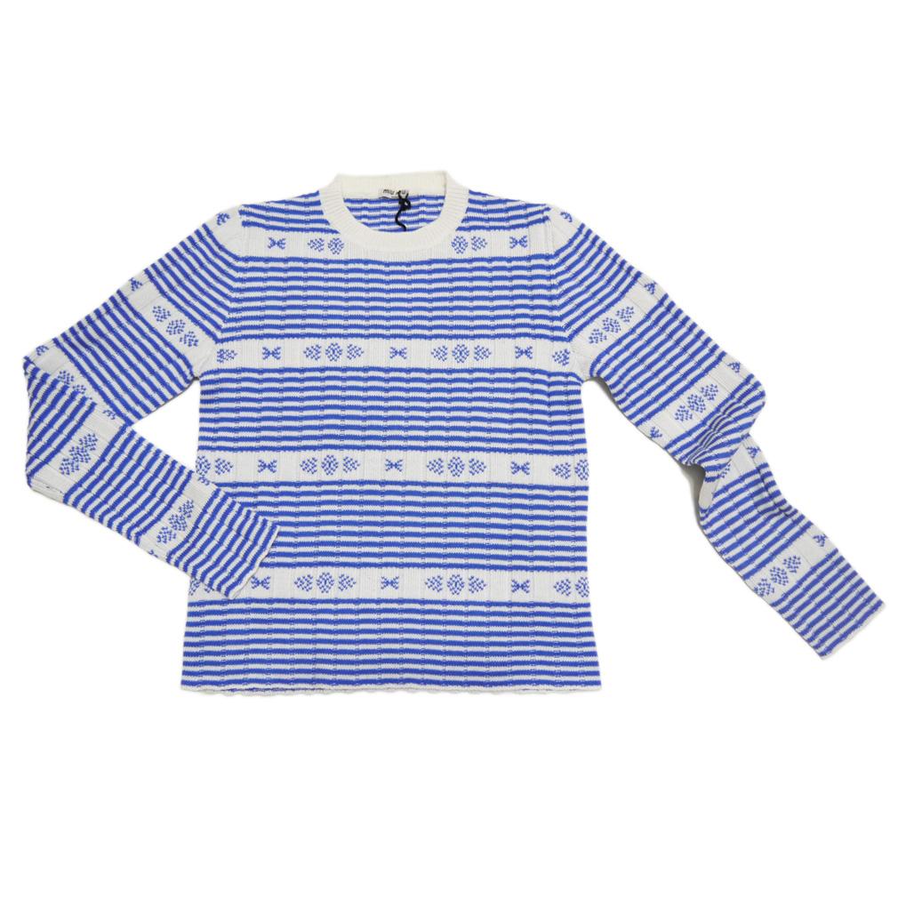 ミュウミュウ ボーダー ウール クルーネックセーター ブルー×白 #40 miu miu