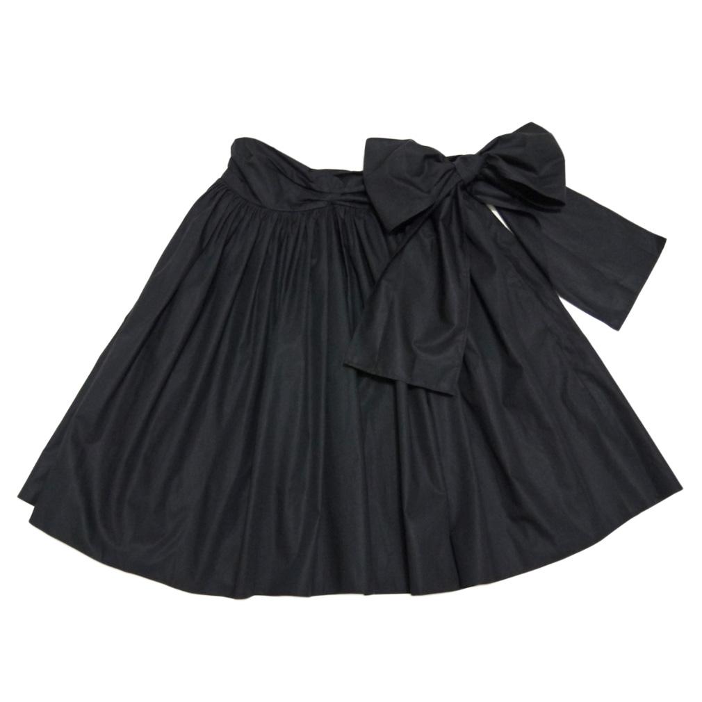 ミュウミュウ リボン ギャザースカート 黒 #42 miu miu