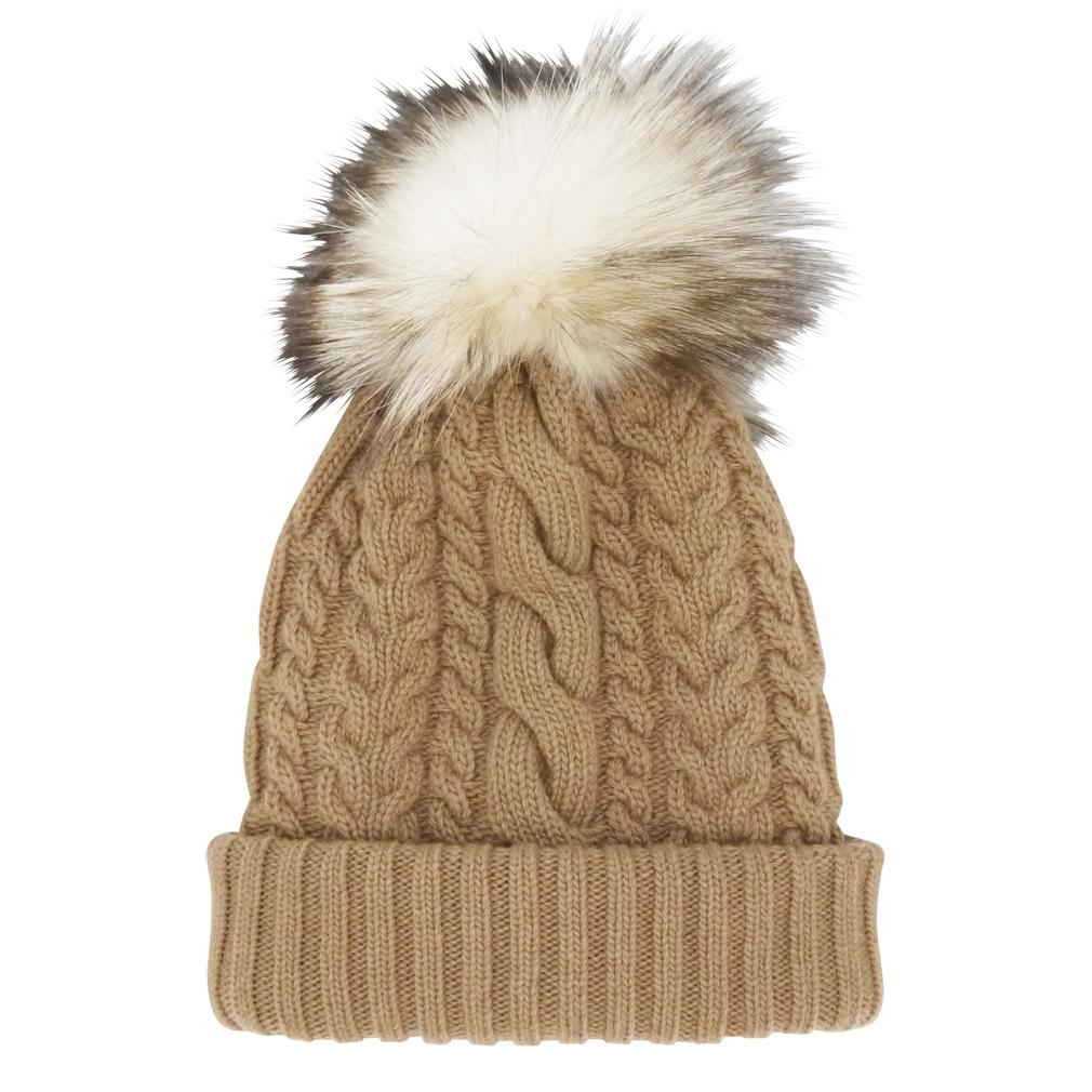 ミュウミュウ FOXファーポンポン付 カシミア混ケーブルニット帽子 キャメル(NATURALE) miu miu