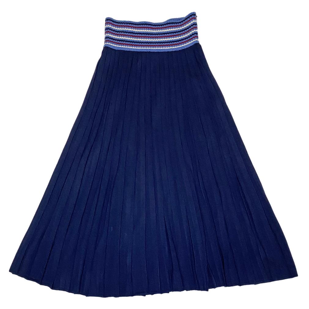 ミュウミュウ ニットプリーツロングスカート ネイビー #40 miu miu