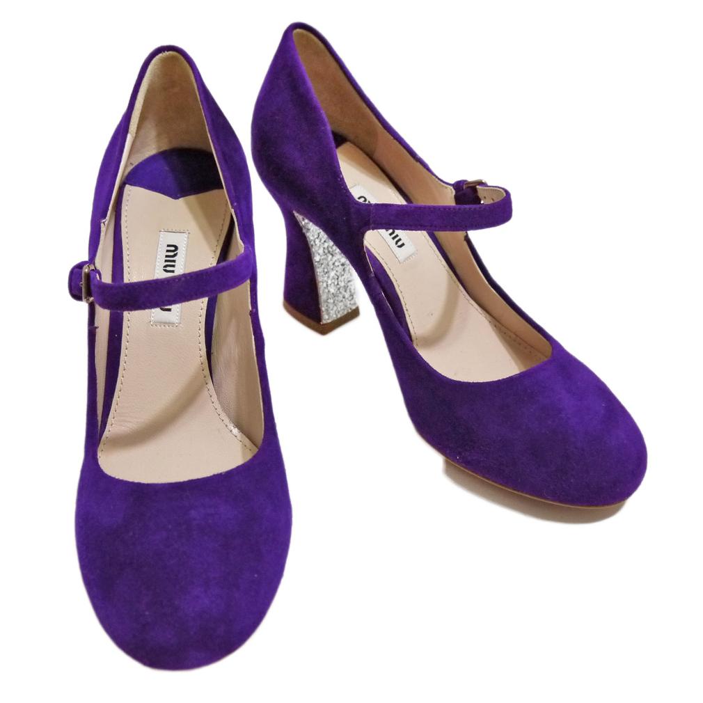 ミュウミュウ スエード×グリッダー ストラップシューズ(靴) 紫 #35 miu miu