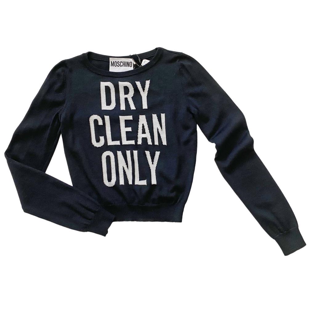 モスキーノ メッセージセーターDRY CLEAN ONLY 黒 #40 MOSCHINO