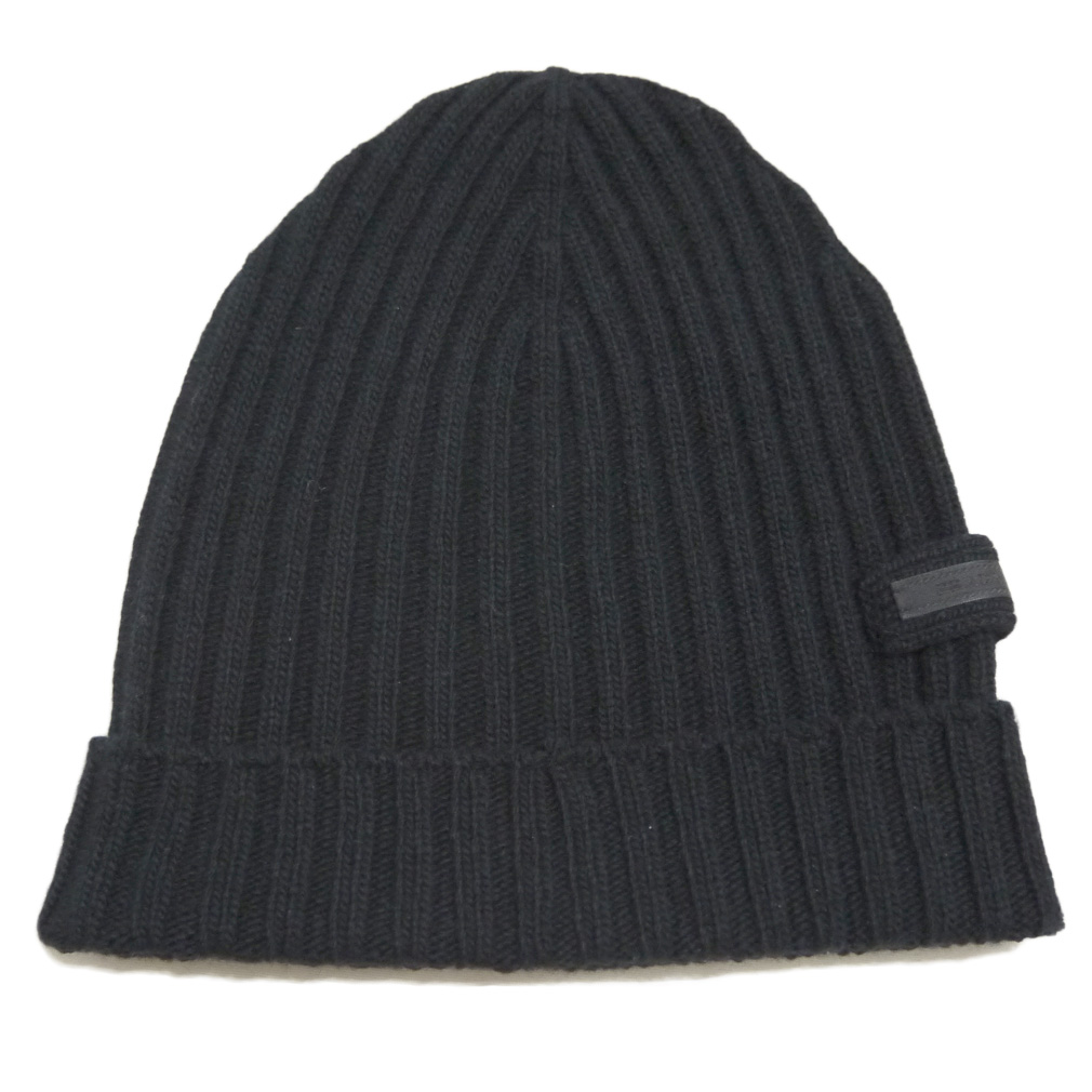 プラダ ウール100% リヴニット帽子 男女兼用 黒 PRADA