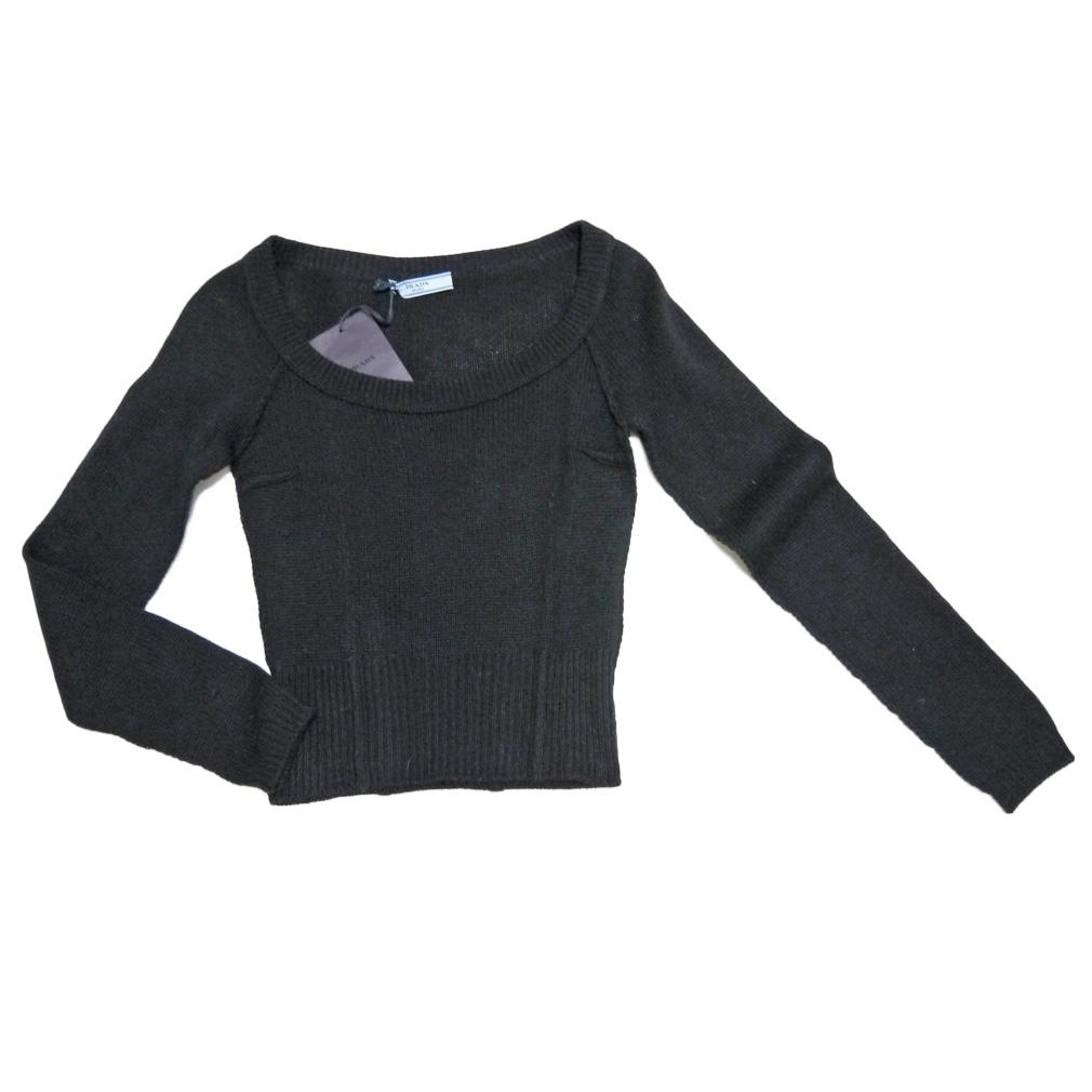 プラダ カシミア100% Uネックセーター 黒 #38 PRADA