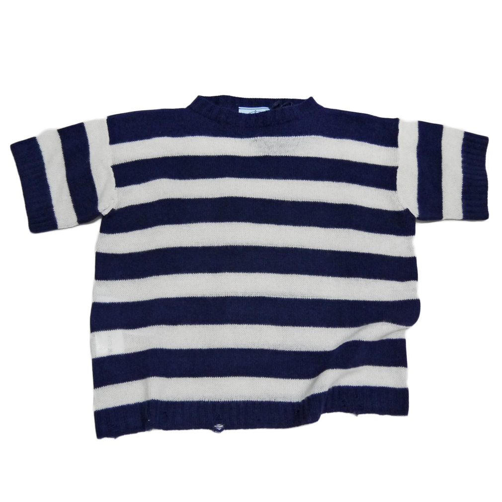 プラダ カシミア混 半袖セーター ボーダーネイビー #40 PRADA