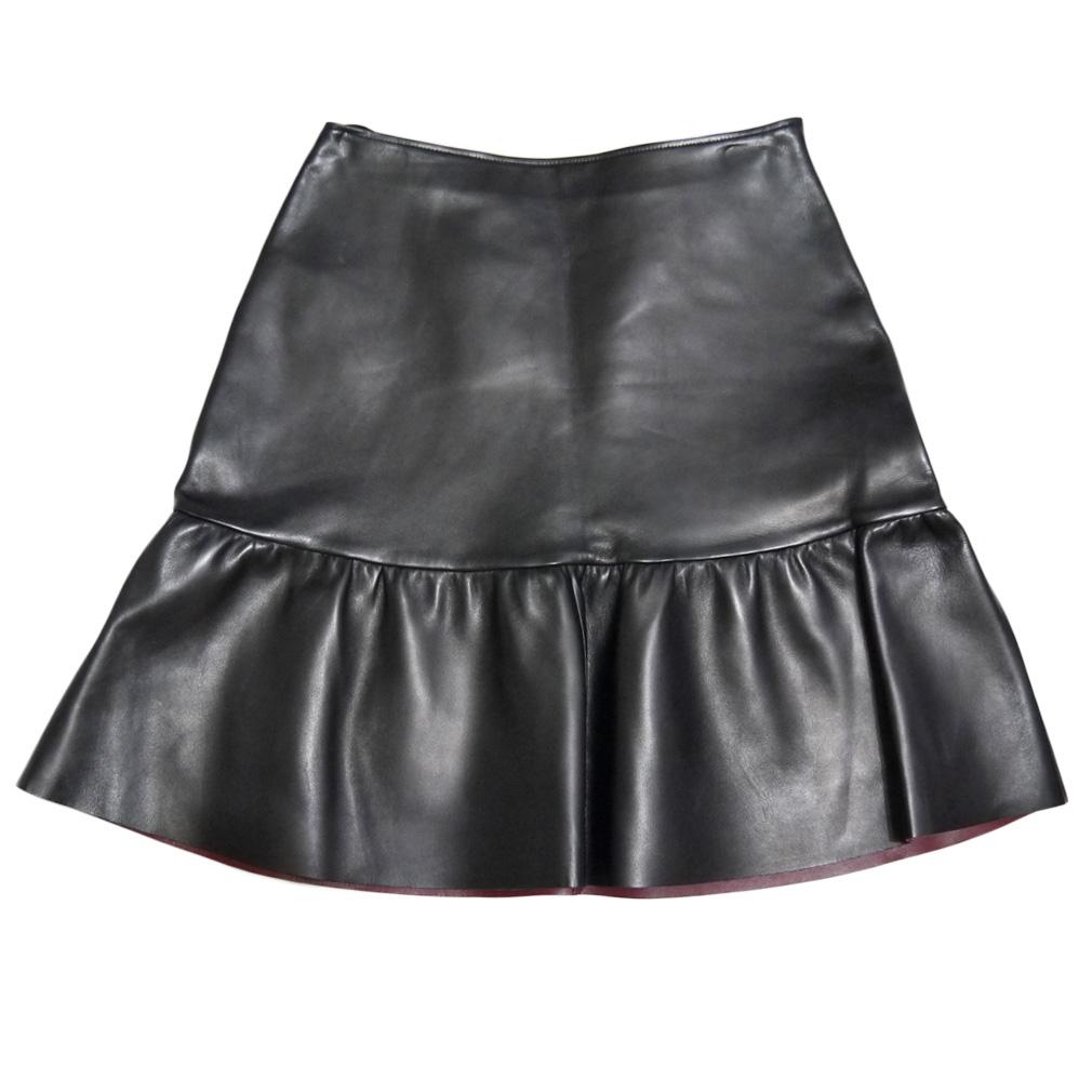 プラダ フリル レザースカート 黒 #40 PRADA