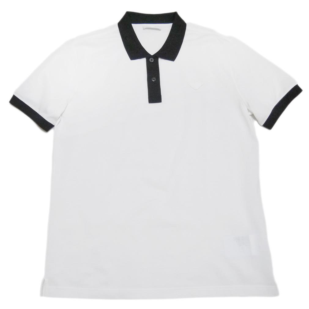 プラダ メンズ 鹿の子 ポロシャツ 白×黒 #XL  PRADA