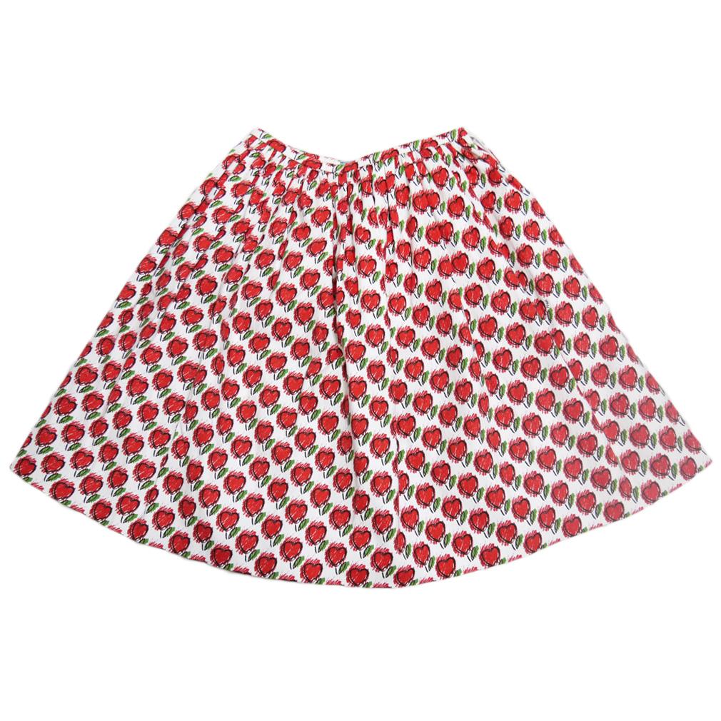 プラダ ハート柄 フレアースカート 赤 #40 PRADA