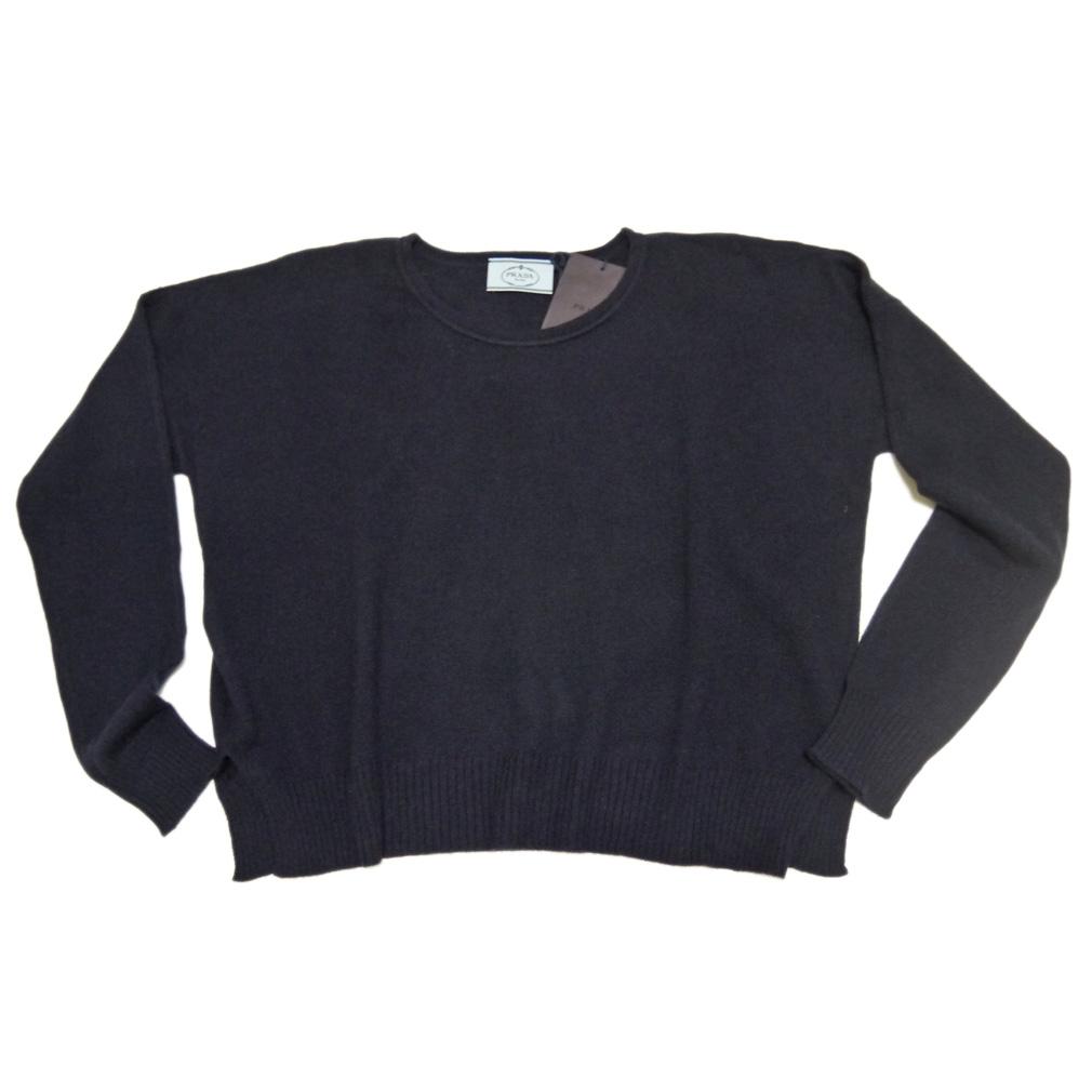プラダ カシミア100% クルーネックセーター ネイビー #42 PRADA