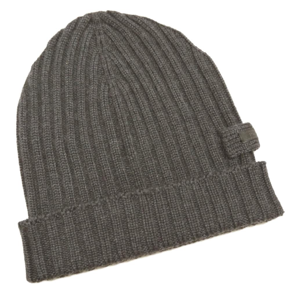 プラダ カシミア100% リヴニット帽子 男女兼用 チャコールグレー(ARDESIA) PRADA
