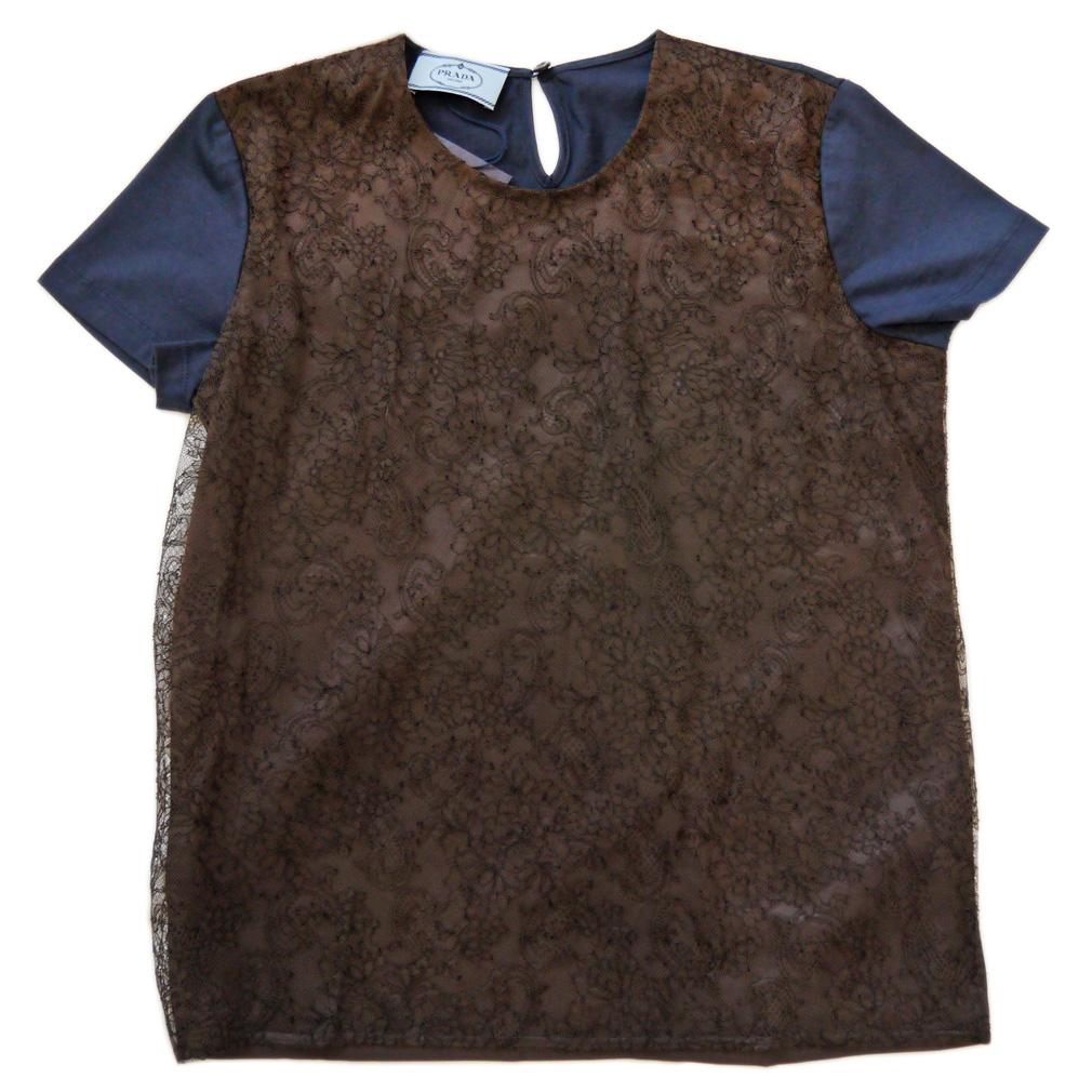 プラダ レース クルーネックTシャツ 茶×ネイビー #S  PRADA