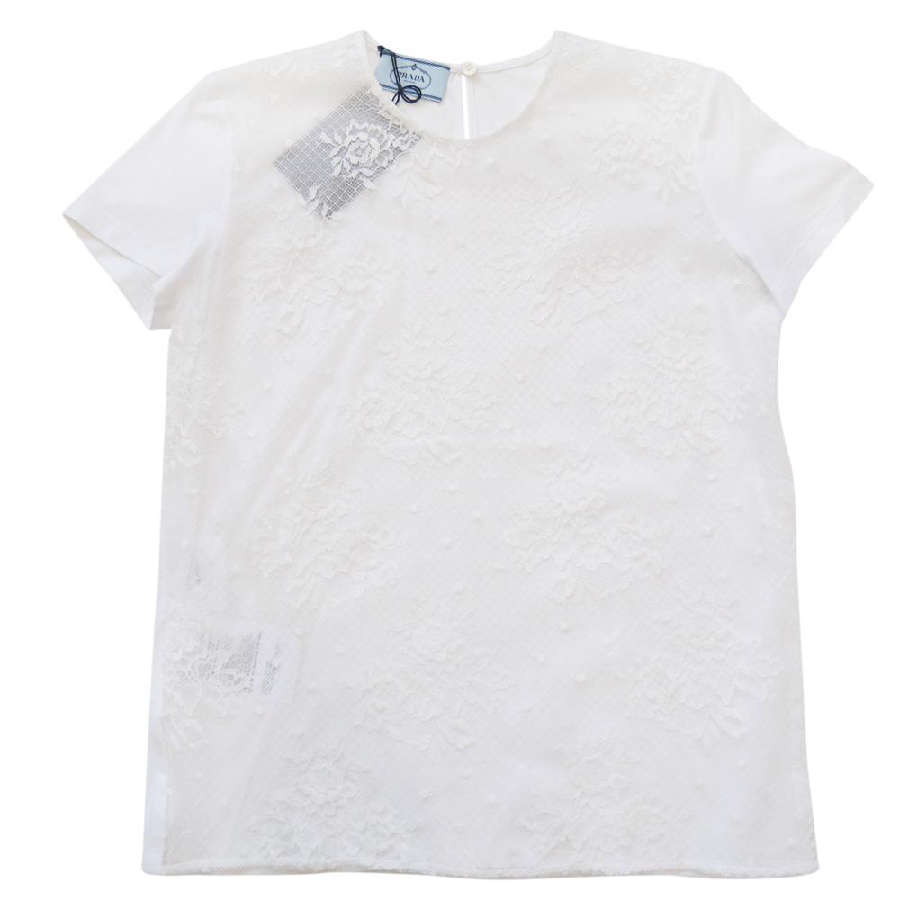 プラダ レース クルーネックTシャツ 白 #XS #S #M #L  PRADA