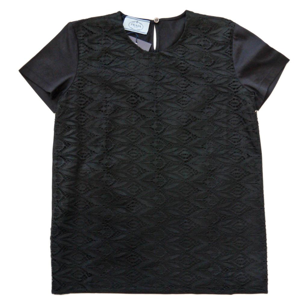プラダ レース クルーネックTシャツ 黒 #XS #M #L  PRADA