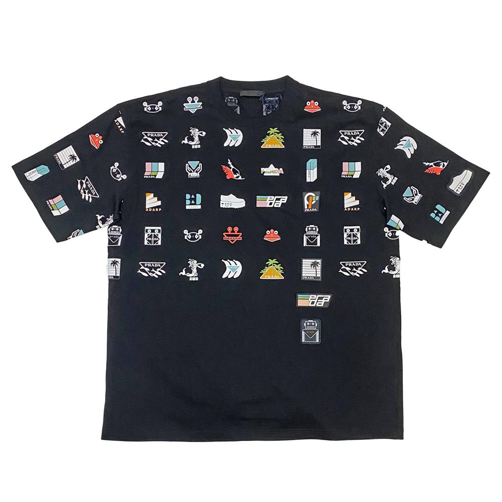 プラダ メンズ  ロゴがいっぱい!クルーネックTシャツ 黒 #XXL  PRADA