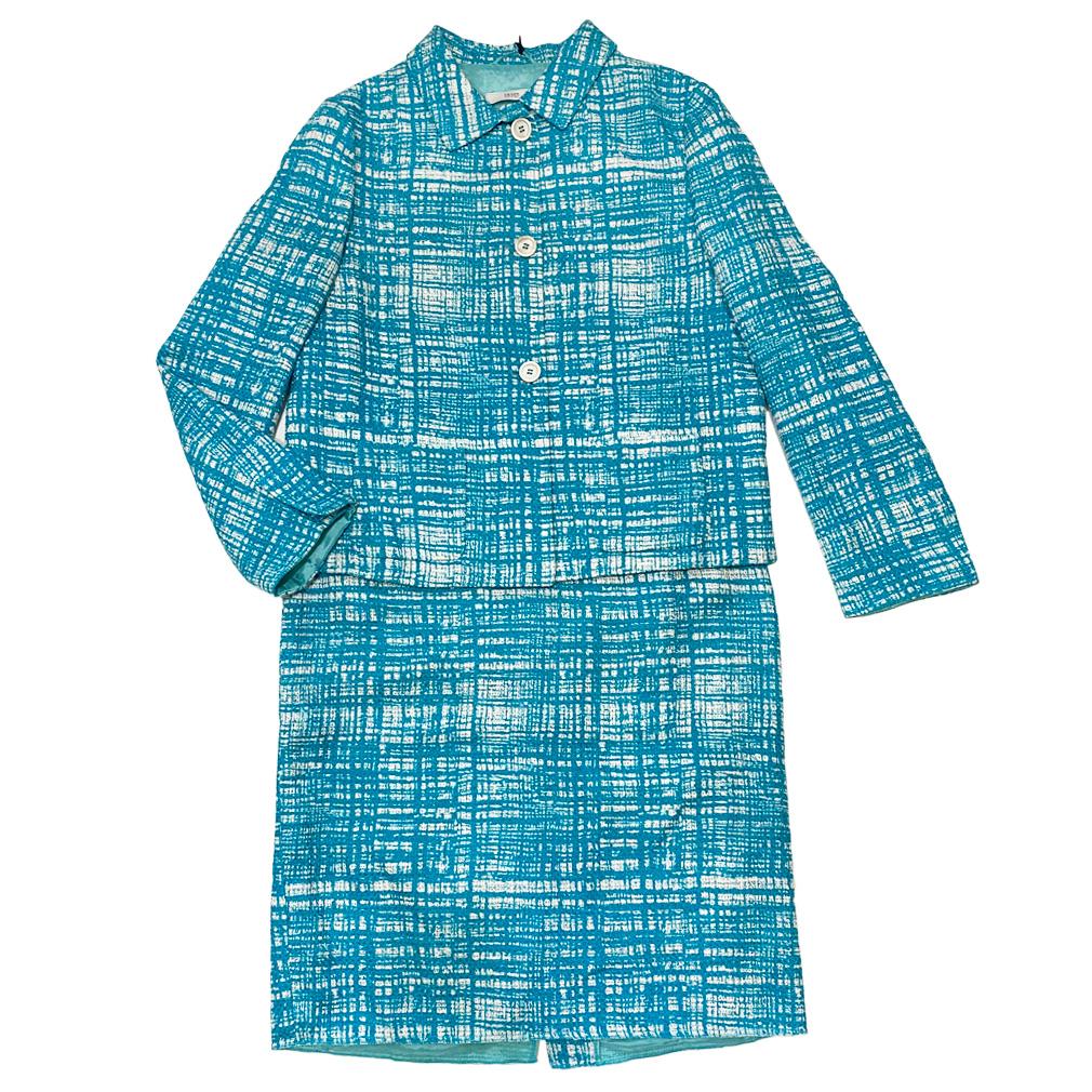 プラダ ツイードスーツ ターコイズブルー #42 PRADA