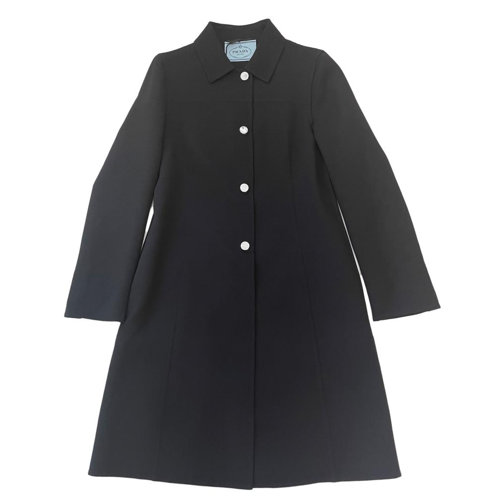 プラダ 1枚仕立て ロングジャケットコート 黒 #38 PRADA