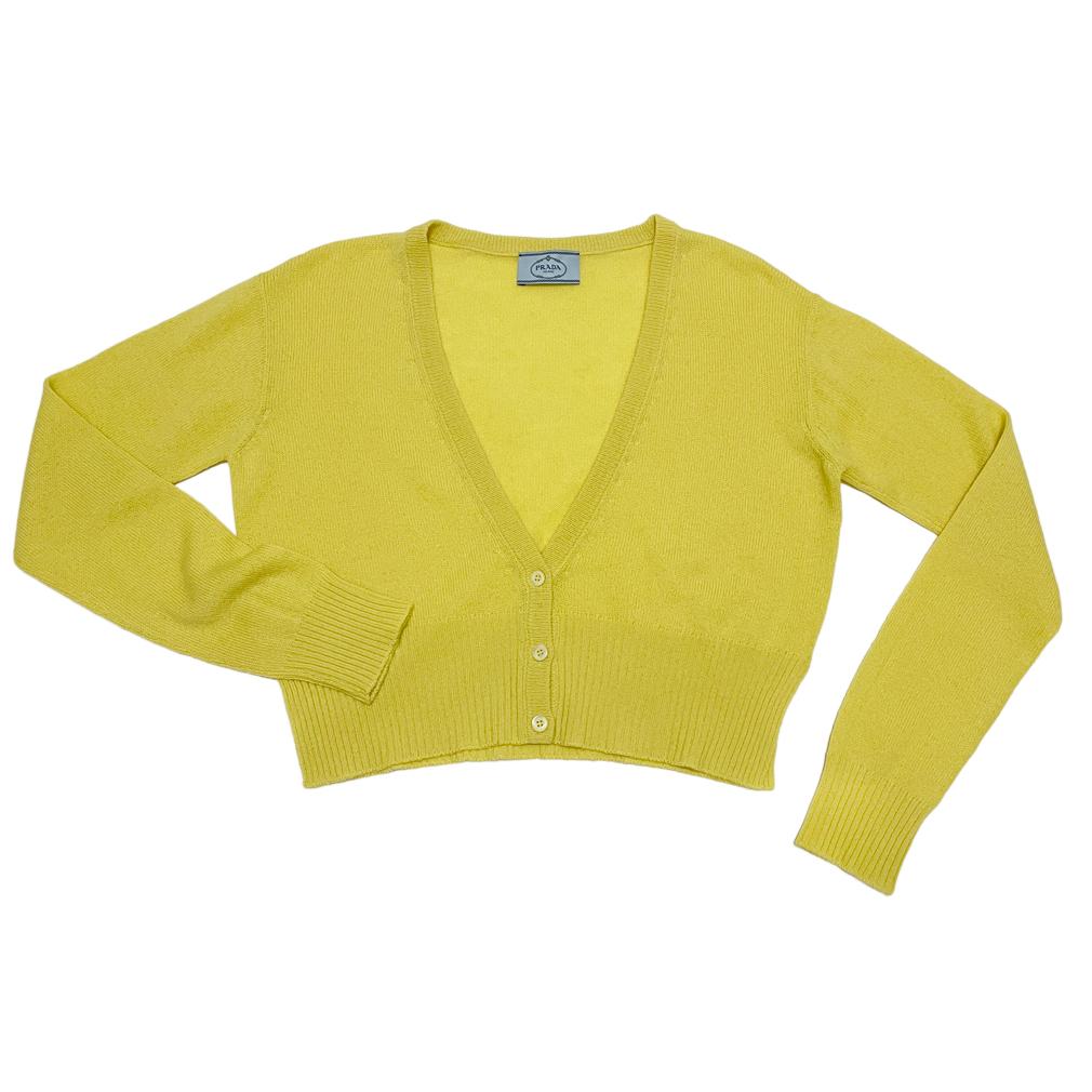 プラダ カシミア100% Vネックカーディガン 黄色 #38 PRADA