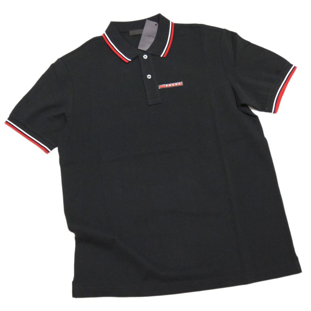 プラダ メンズ 定番 鹿の子 半袖ポロシャツ 黒 #S #M #L #XL PRADA
