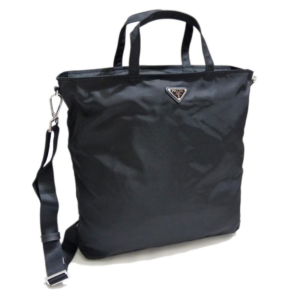 プラダ ストラップ付き ナイロントートバッグ(エコバッグ) 黒 BN2894 PRADA