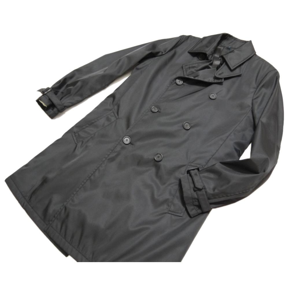 プラダ メンズ 裏地がウールで暖かい ナイロンコート 黒 #48 PRADA