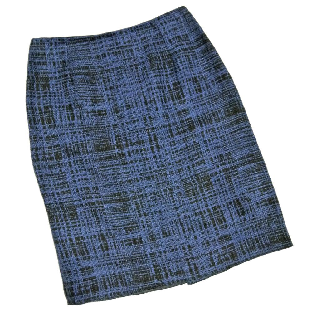 プラダ ツイード素材が上品 タイトスカート 紺 #46 PRADA