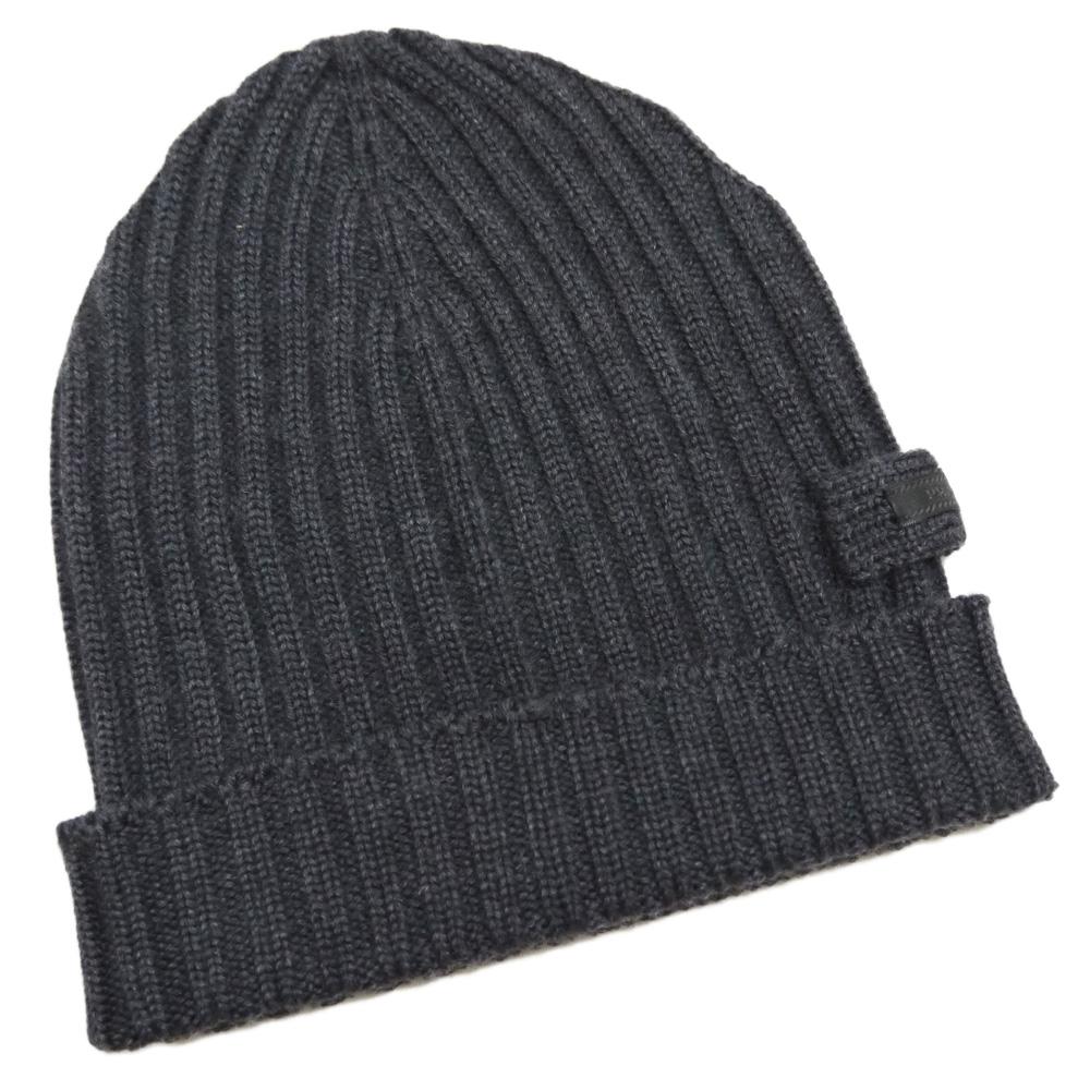 プラダ ウール100% リヴニット帽子 男女兼用 チャコールグレー(ANTRACITE) PRADA
