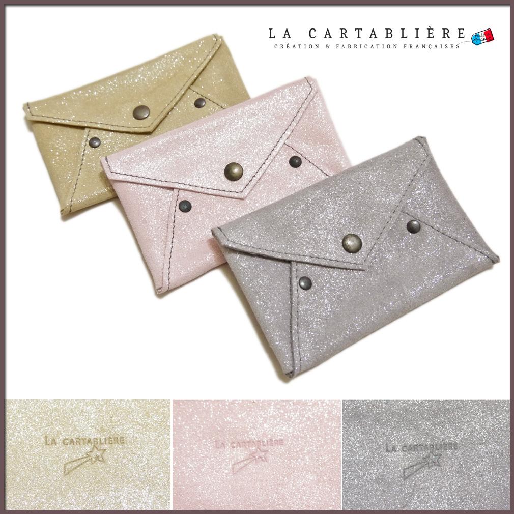 ラカルタブリエ フランス製 きらきらスエード カードケース(名刺入れ) LA CARTABLIERE