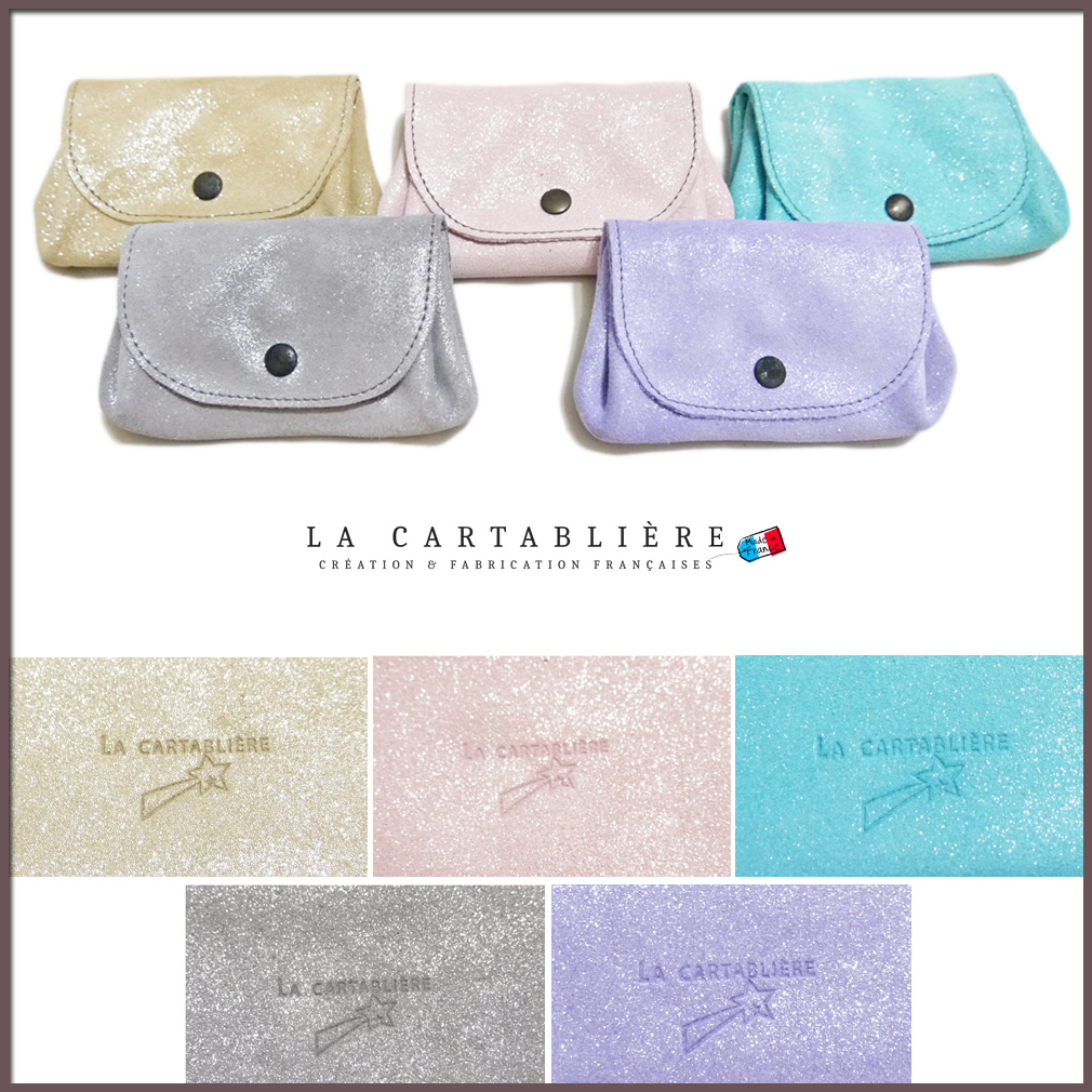 ラカルタブリエ フランス製 きらきらスエード アコーディオンポーチ カードケース(名刺入れ) LA CARTABLIERE