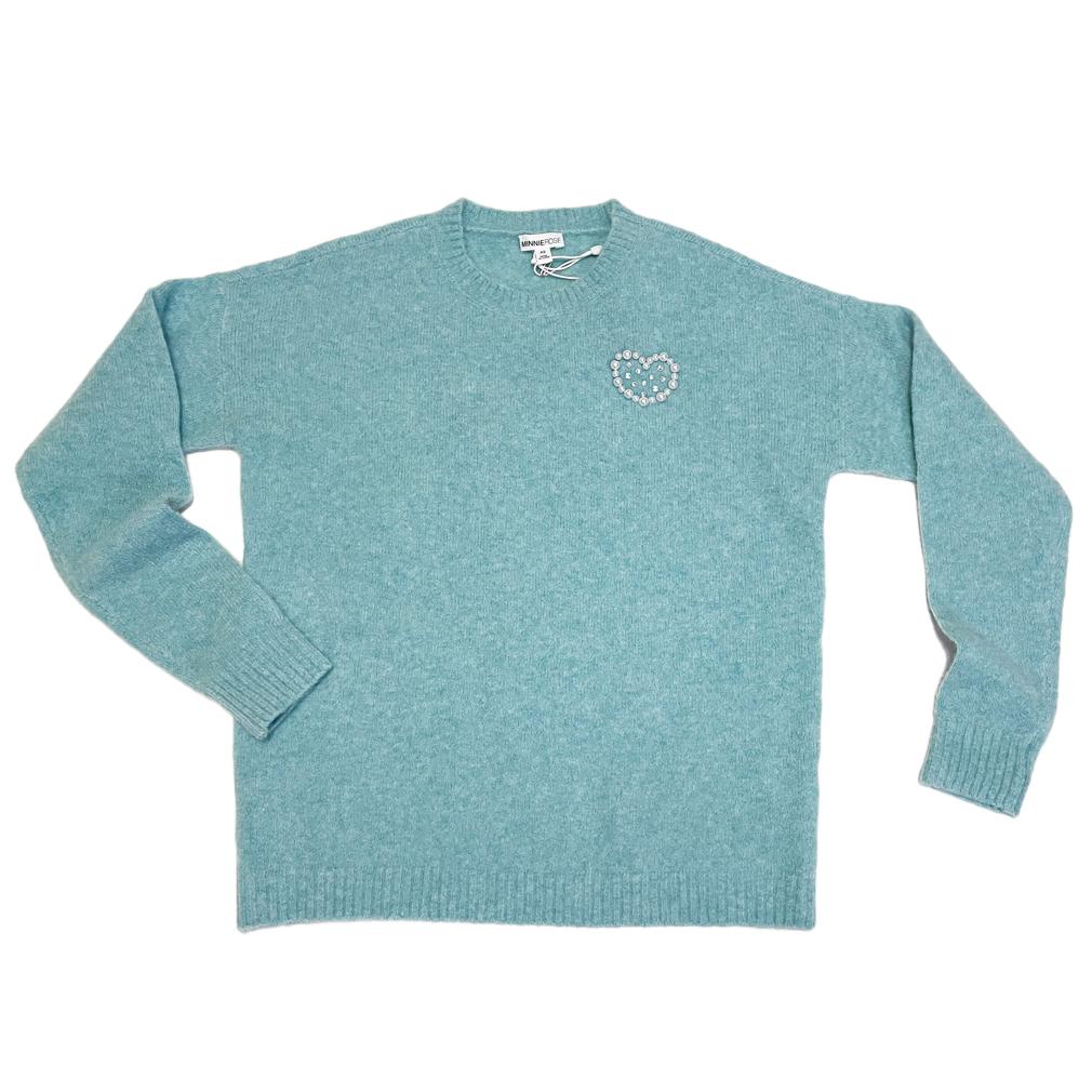 ミニーローズ カシミヤ100% クルーネックセーター ブルー #XS MINNIE ROSE