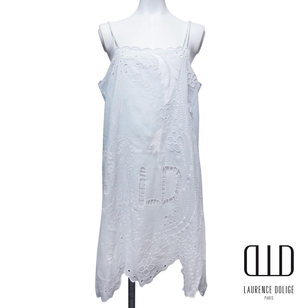 ローレンスドリジェ パリ 優しい雰囲気の刺繍ワンピース 水色 #0 LAURENCE DOLIGE