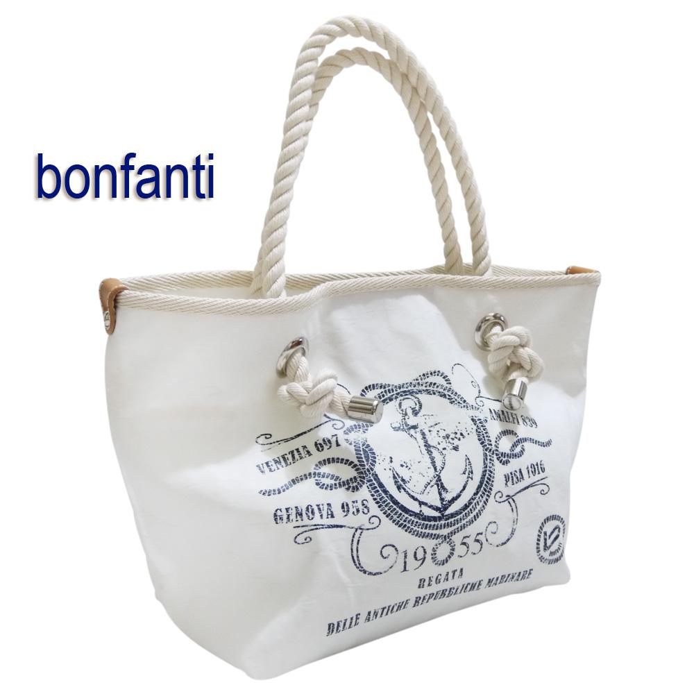 bonfanti イタリア製 マリンテイスト ミニトートバッグ(カートバッグ) 男女兼用 白 ボンファンティー