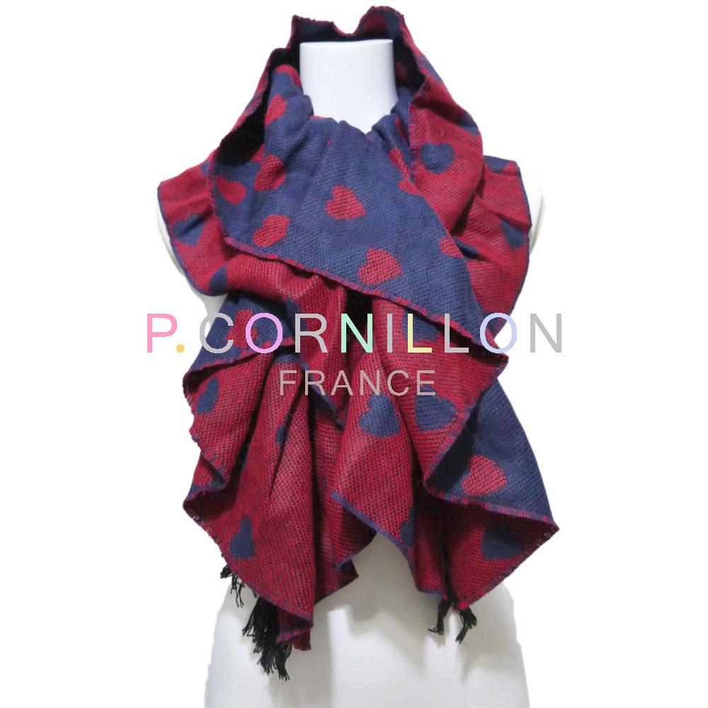 P.cornillon フランス製 ハート リバーシブル シャーリングマフラー レッド×ネイビー ピーコルニヨン