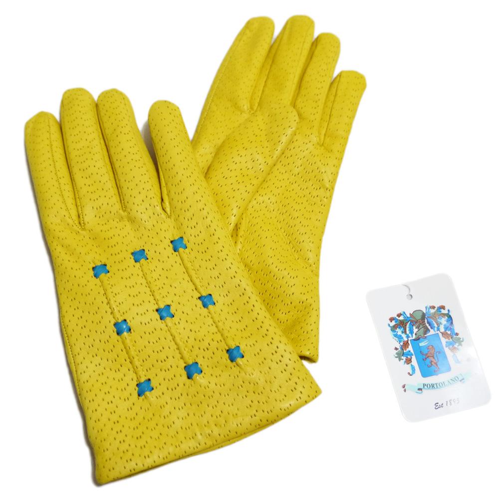 ポートランド イタリア製 レザーグローブ(手袋) 黄色 PORTLAND