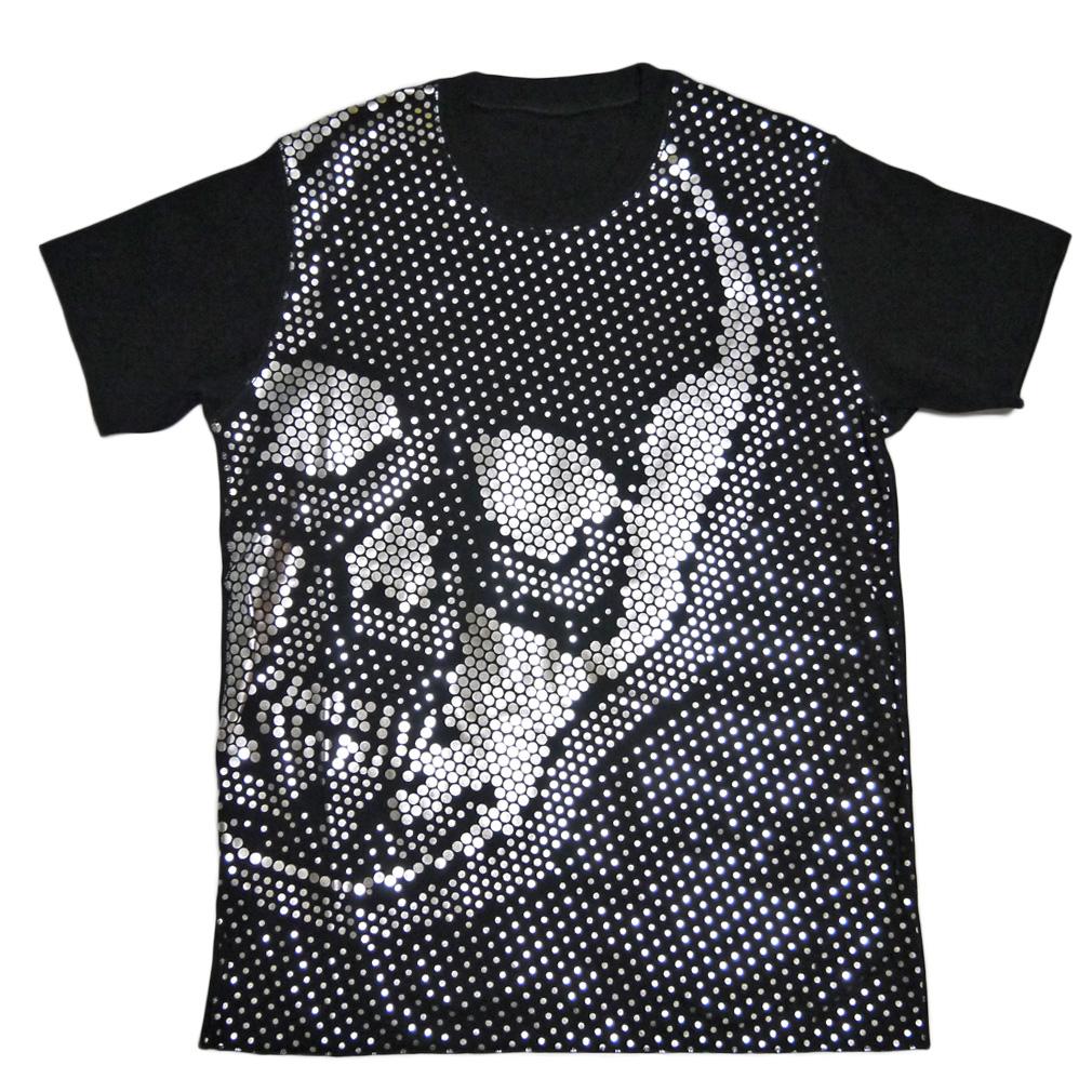 ルシアンペラフィネ メンズ ドットスカルシルバー Tシャツ 黒 #S lucien pellat-finet
