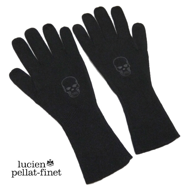 ルシアンペラフィネ スカル刺繍 メンズ ニットグローブ(手袋) 黒 lucien pellat-finet