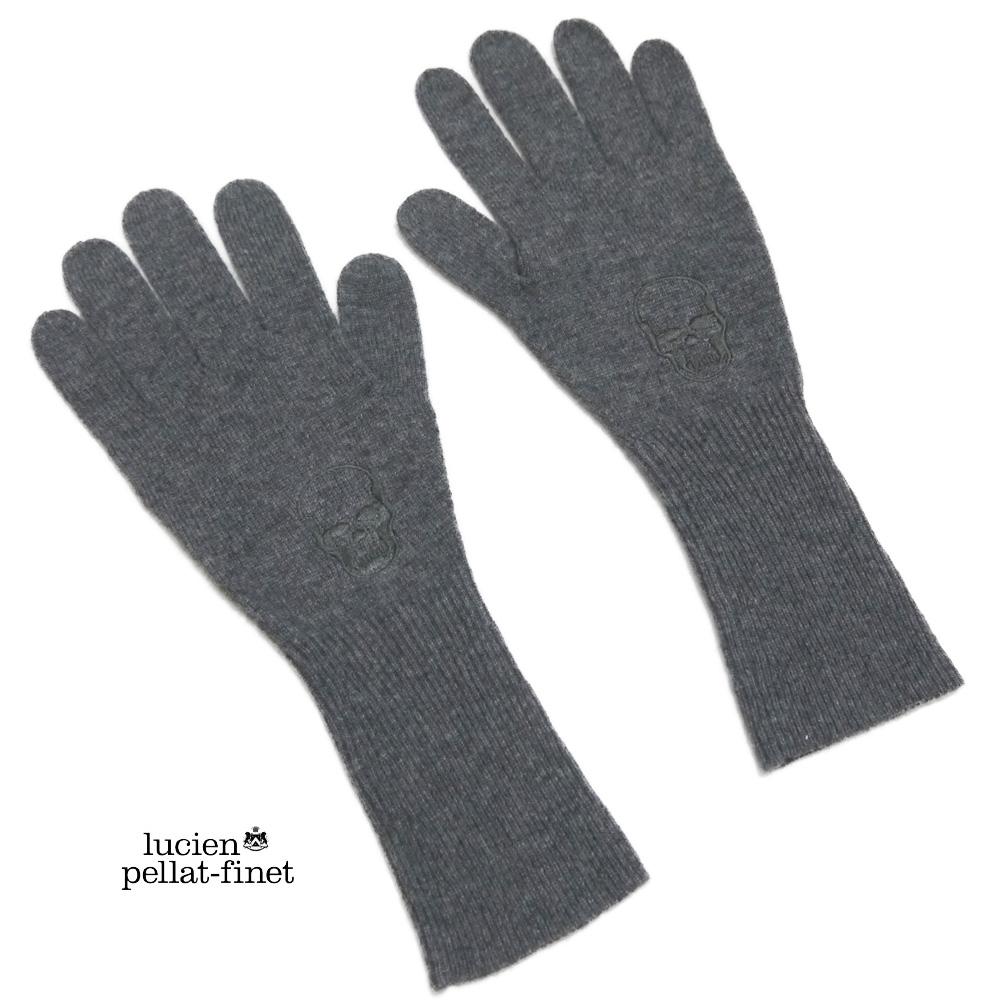 ルシアンペラフィネ スカル刺繍 ニットグローブ(手袋) グレー レディース lucien pellat-finet