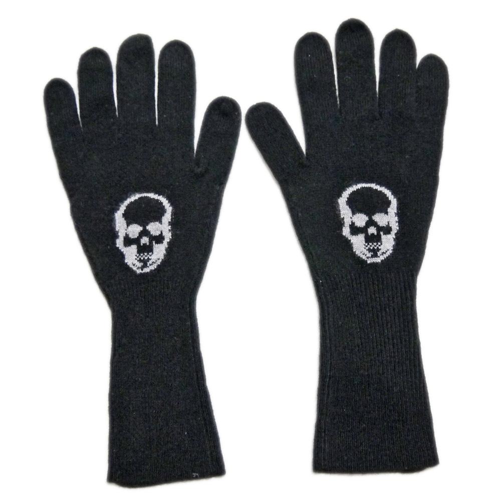 ルシアンペラフィネ インターシャ スカル ニットグローブ(手袋) 黒 lucien pellat-finet
