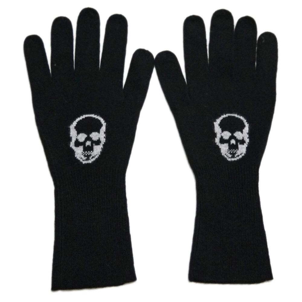 ルシアンペラフィネ メンズ インターシャ スカル ニットグローブ(手袋) 黒 lucien pellat-finet