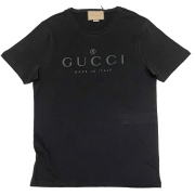 グッチ  メンズ  ロゴ クルーネックTシャツ 黒 #L GUCCI