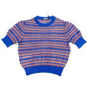 ミュウミュウ ボーダー 半袖セーター クルーネック ピンク×青 #40 miu miu