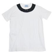 プラダ ビーズ刺繍 Tシャツ 白 #M PRADA