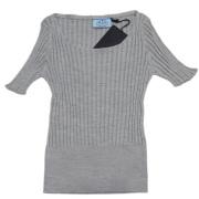 プラダ シルク100% 半袖リヴニットセーター グレー #42 PRADA