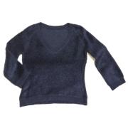 プラダ Vネックふわふわモヘアセーター 紺 #38 PRADA