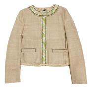 プラダ 刺繍が華やかな シルク ジャケット グリーン #44 PRADA