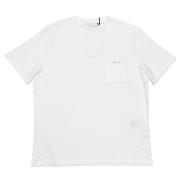 プラダ メンズ 異素材mix VネックTシャツ 白 #XL  PRADA