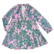 イヴォンヌ プリント チュニックワンピース ピンク×緑 #S YVONNE S