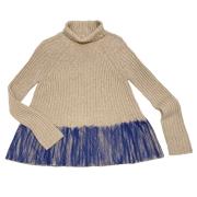 アイボリーズ イタリア製インポート アルパカ  ハイネックセーター(ニット) ベージュ×紺 #38 Ivories