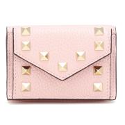 ヴァレンティノ ロックスタッズ 三つ折りミニ財布 ピンク VALENTINO