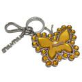 ミュウミュウ きらきらクリスタルビジューキーホルダー バタフライ(蝶々) オレンジ miu miu